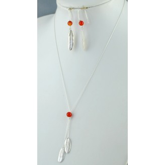 Sterling silver necklace and 2 small olive leaves with blue Orange Bead